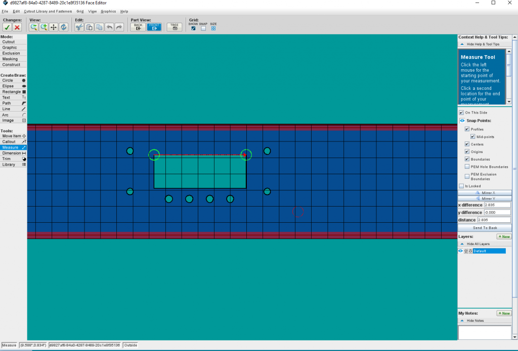 An example of using the Measure Tool in Protocase Designer