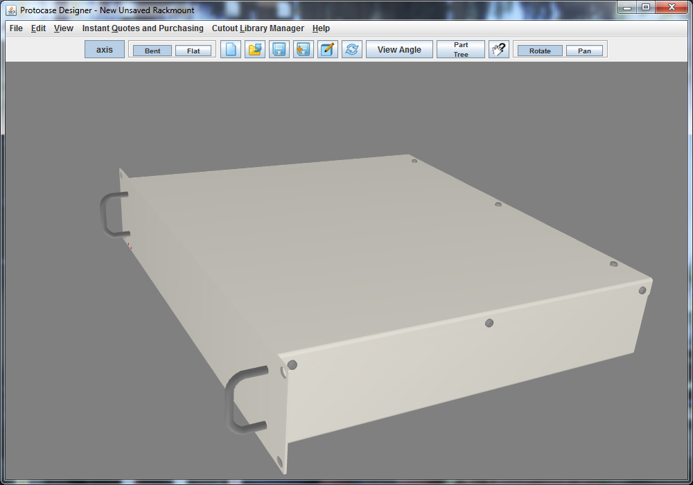 A look at the Protocase Designer 3D Editor before it was updated in the latest version, Protocase Designer 4.6