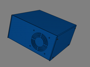 U-shape enclosure with 92mm fan cutout with grill made in Protocase Designer.