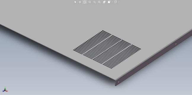 CAD rendering of sheet metal panel with larger slot cutout pattern.