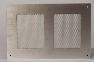 Front View of Perforated Aluminum Sheet Metal with Grained Finish.