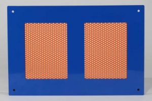 Front-facing view of Perforated Aluminum Sheet Metal with High Gloss Safety Orange Powdercoat.