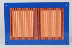 Backside view of Perforated Aluminum Sheet Metal with High Gloss Safety Orange Powdercoat, Fastened via Self-Clinching Fasteners.