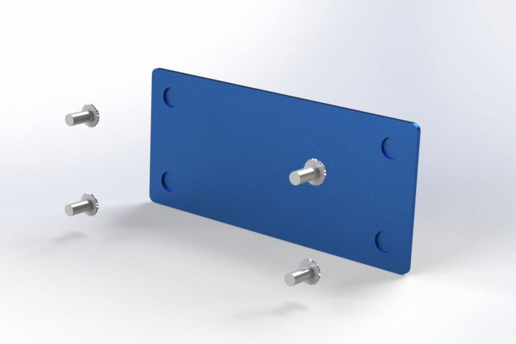 CAD render of concealed-head fasteners being installed in a panel