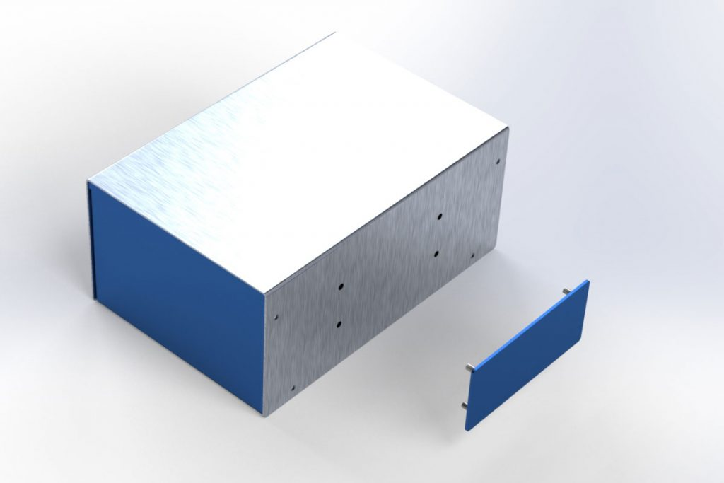 Render of a panel with concealed-head fasteners being installed on a custom enclosure.