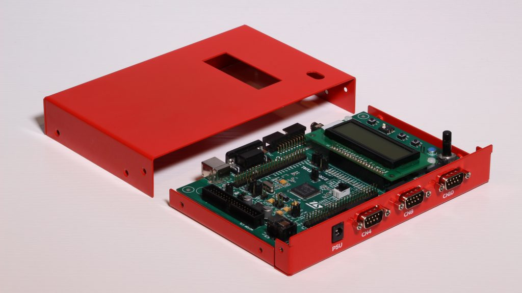 L-Shape Enclosure with printed circuit board installed.