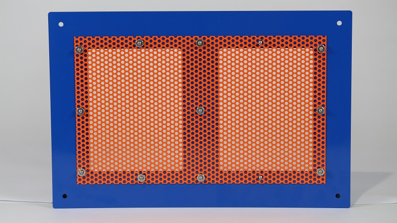 Backside of Panel with Perforated Aluminum Attached via Fasteners