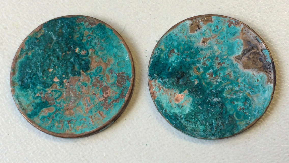 Pennies that have oxidized and turned to patina